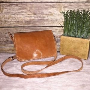 Vintage Tan Brown Leather Small Crossbody Purse